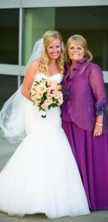 Linda: Mother of the Bride looking fabulous in her artful silk Brooks ensemble