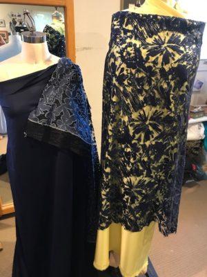 navy blue, sequins, ponte, denium lace fabrics