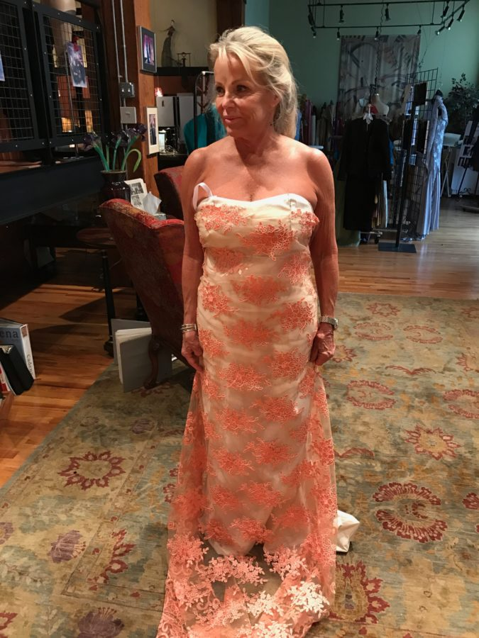 salmon peach wedding dress custom dress designer denver