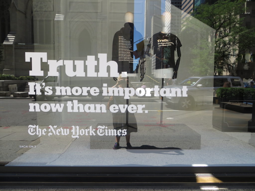 Truth New York Times Shop Display