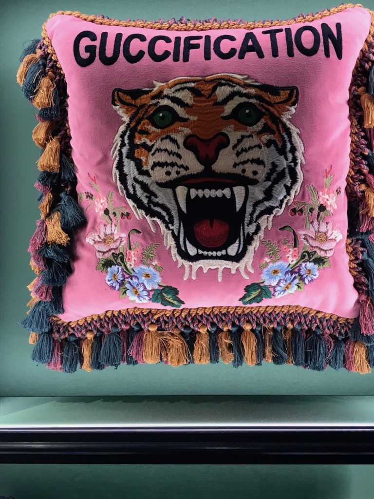 new gucci store tiger pillow