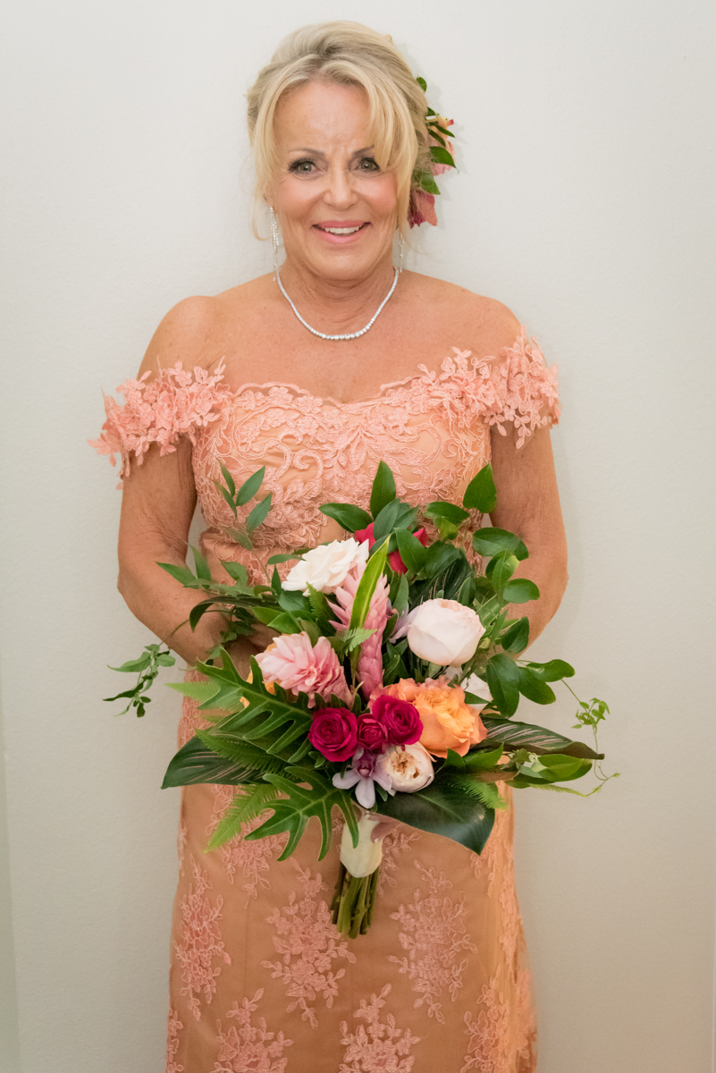 Custom-Made Salmon Colored Lace Wedding Gown