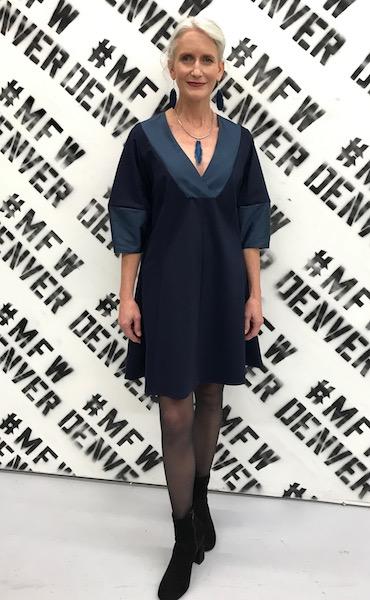 navy blue dress custom fashion designer denver