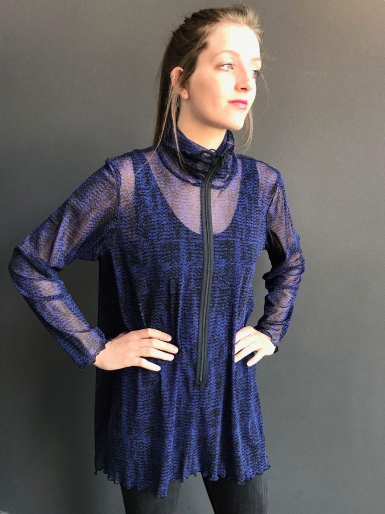 dark blue mesh top for women