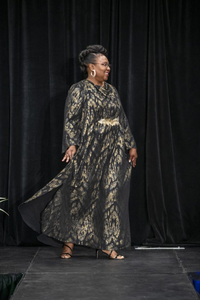 Brooks LTD custom made bespoke gown in gold lame at the Mayor's Diversity and Inclusion Awards
