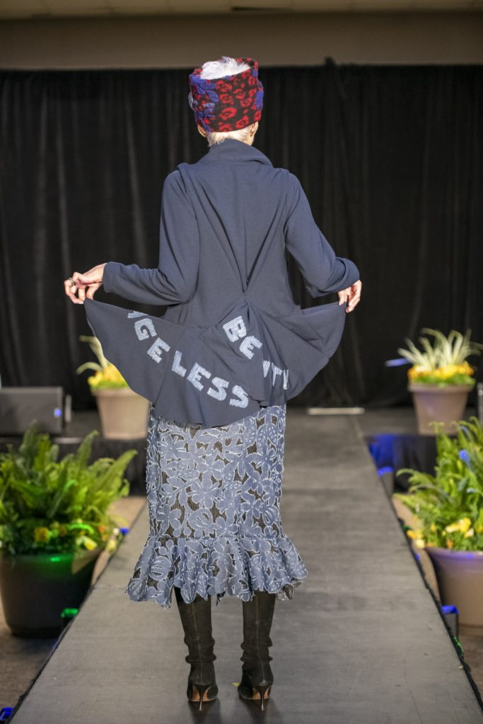 Judith Boyd StyleCrone modeling a custom couture Brooks LTD ensemble for the Mayor's Diversity and Inclusion Awards