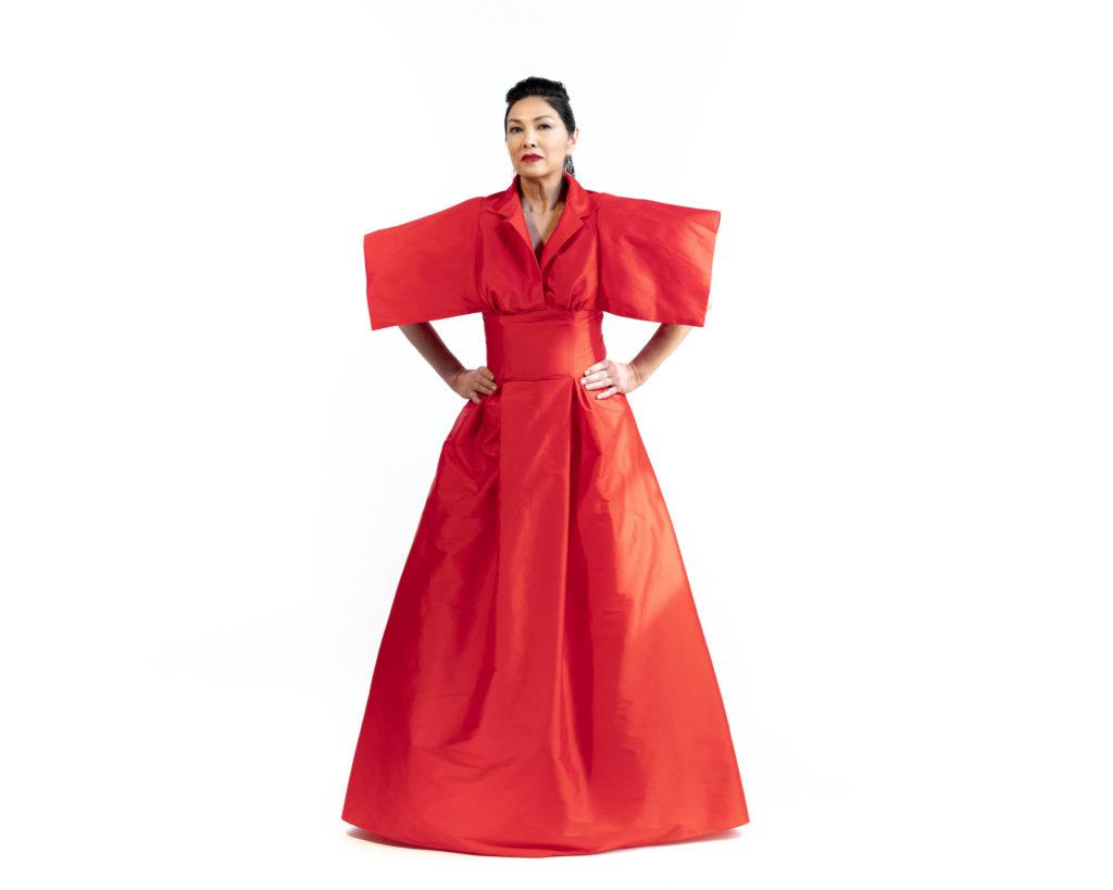 Brooks LTD red taffeta couture shirtwaist dress