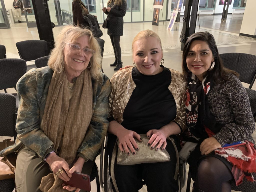Denver designer Mona Lucero and I with client, eagerly awaiting Georgia and Florence's talk for Denver Fashion Week
