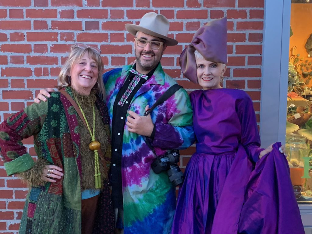 Advanced Style's Ari Seth Cohen, flanked by myself and Judith from Style Crone, wearing her custom Brooks LTD headpiece