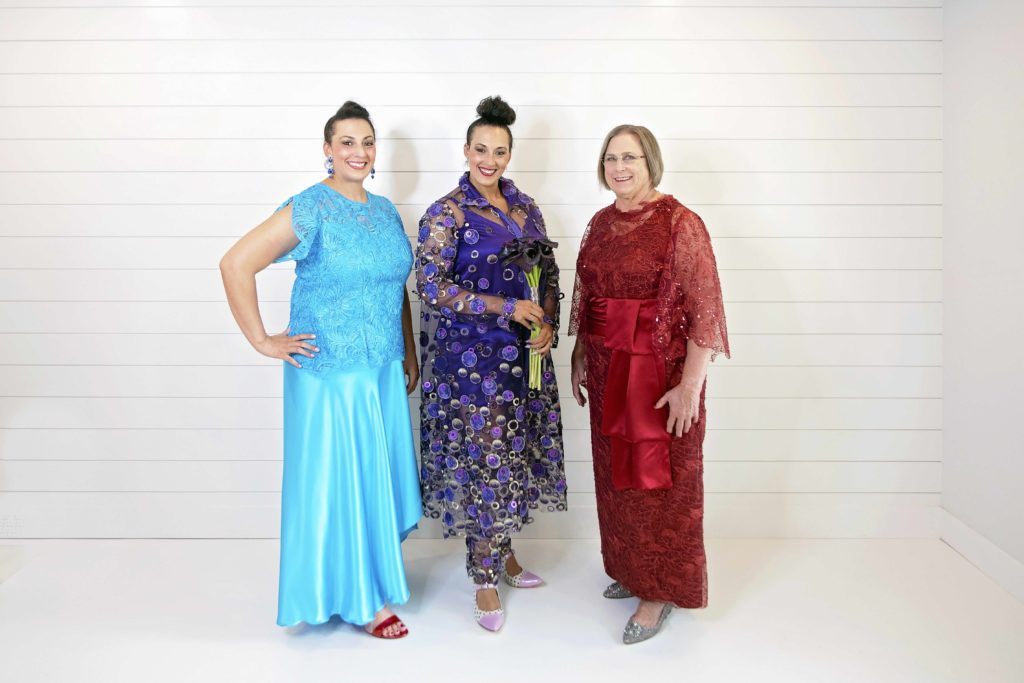 Custom ensembleA one-of-a-kind bride along with her mother and twin in custom ensembles by Brooks LTDs by Brooks LTD