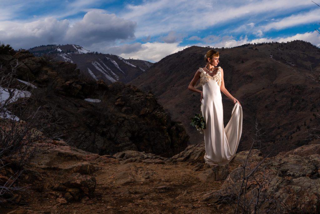 Dorotka shows off the train of her Brooks LTD wedding dress
