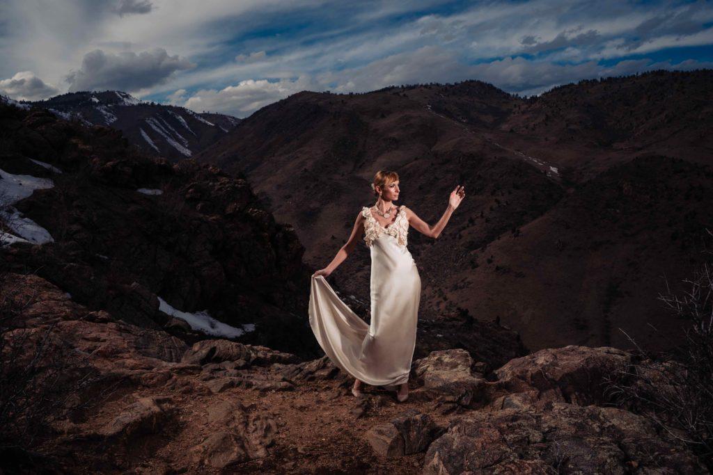 Dorotka wears a custom designed, bias cut silk charmeuse wedding dress