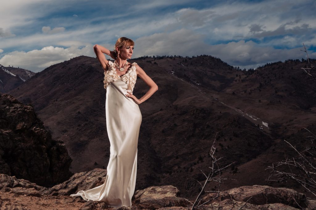 Dorotka modeling the bias cut wedding dress by Brooks LTD at the Dove Inn in Golden, Colorado
