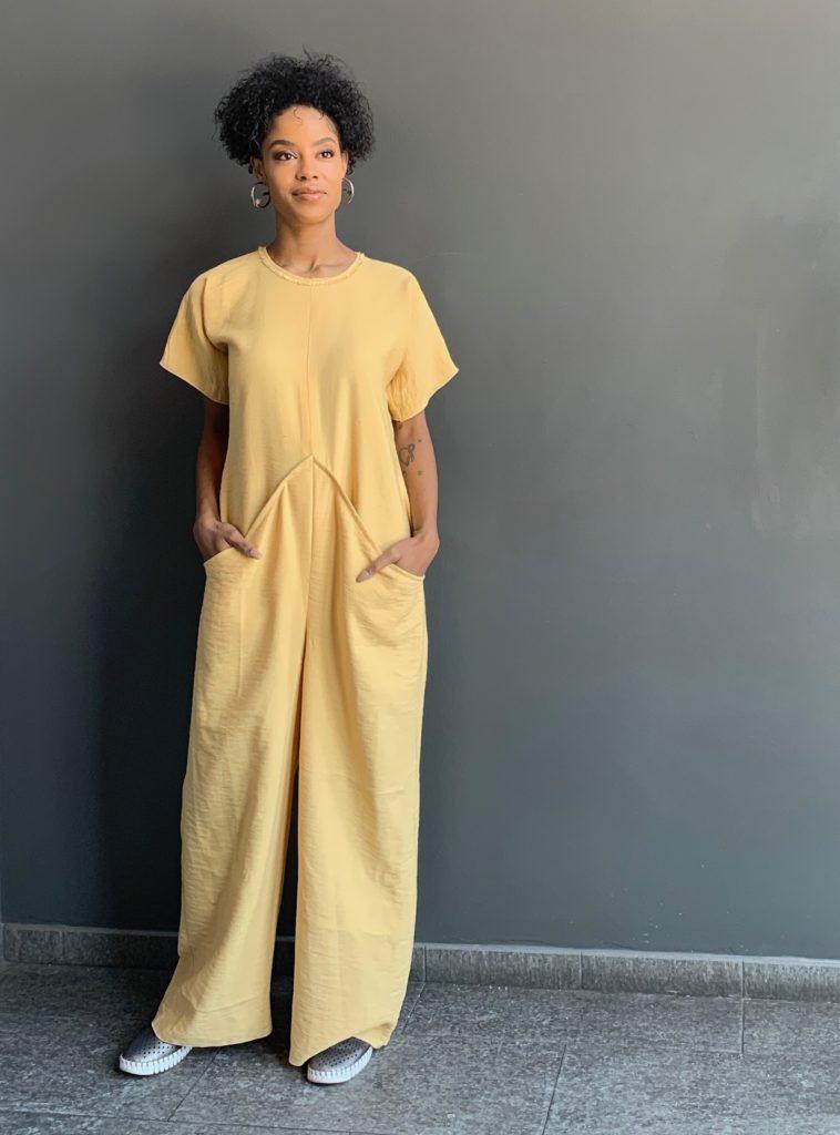 Alicia models the Brooks LTD Maize Jumpsuit