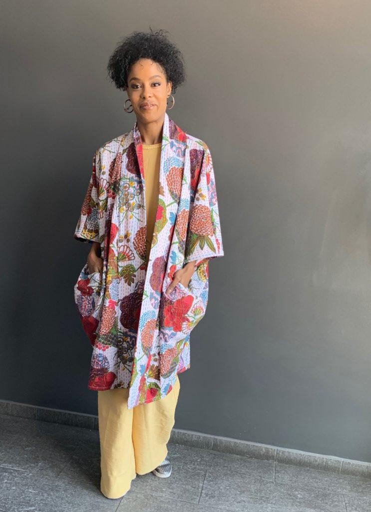 The Clementine Kimono Jacket in Kantha print cotton