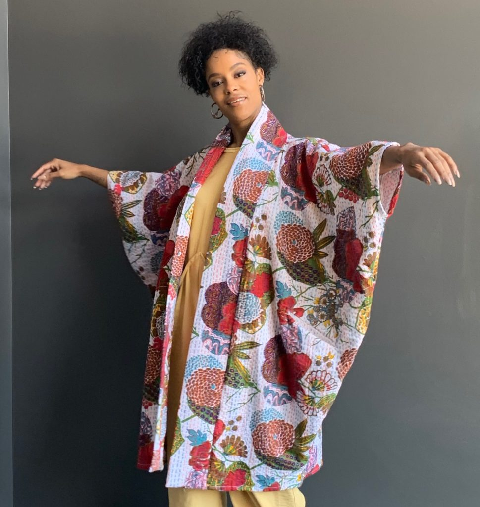 Loving the flow of the Clementine Kimono Jacket cut
