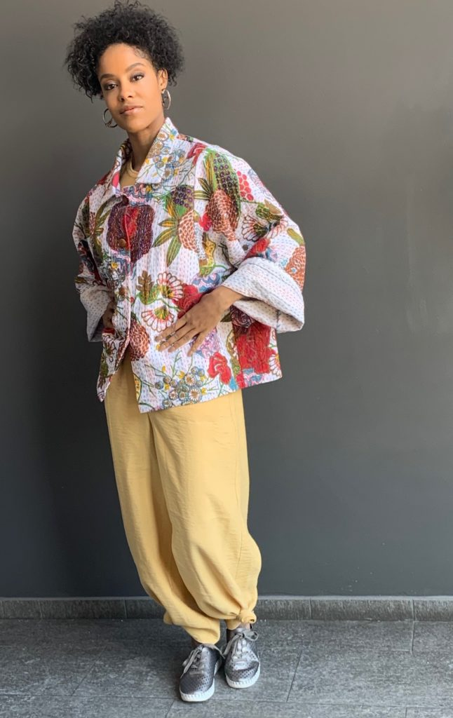 Maize Jumpsuit with Kantha Jacket on model Alicia