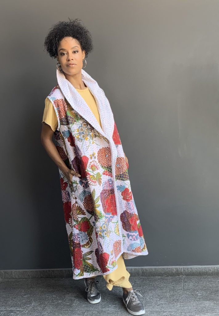 Another variation on the Kantha fabric - a long vest, layered over jumpsuit