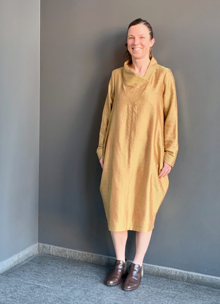 A happy client in her custom Brooks LTD dress, made using her own Indian sari fabric